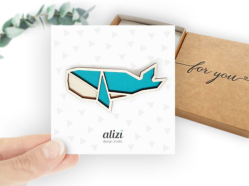 Brooch - Whale / Double - Turquoise