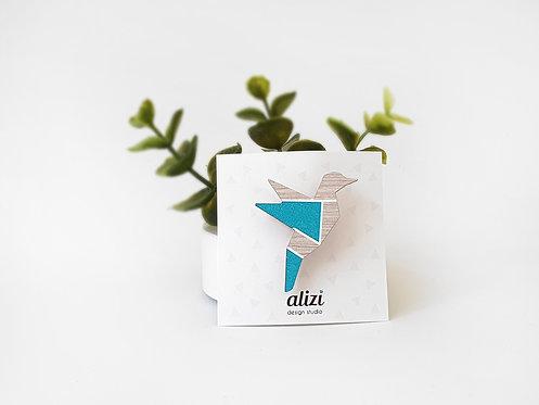 MINI Brooch - Origami Bird - Turquoise