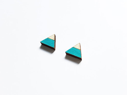 ALIZI.PLAY-WOOD Earrings - triangle sp - turquoise