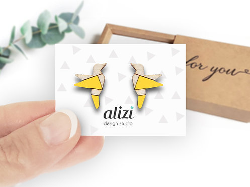 Earrings - Birds Origami - Yellow