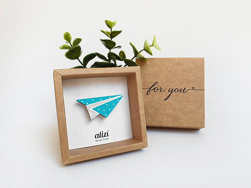 MINI Brooch - Paper Plane - Turquoise