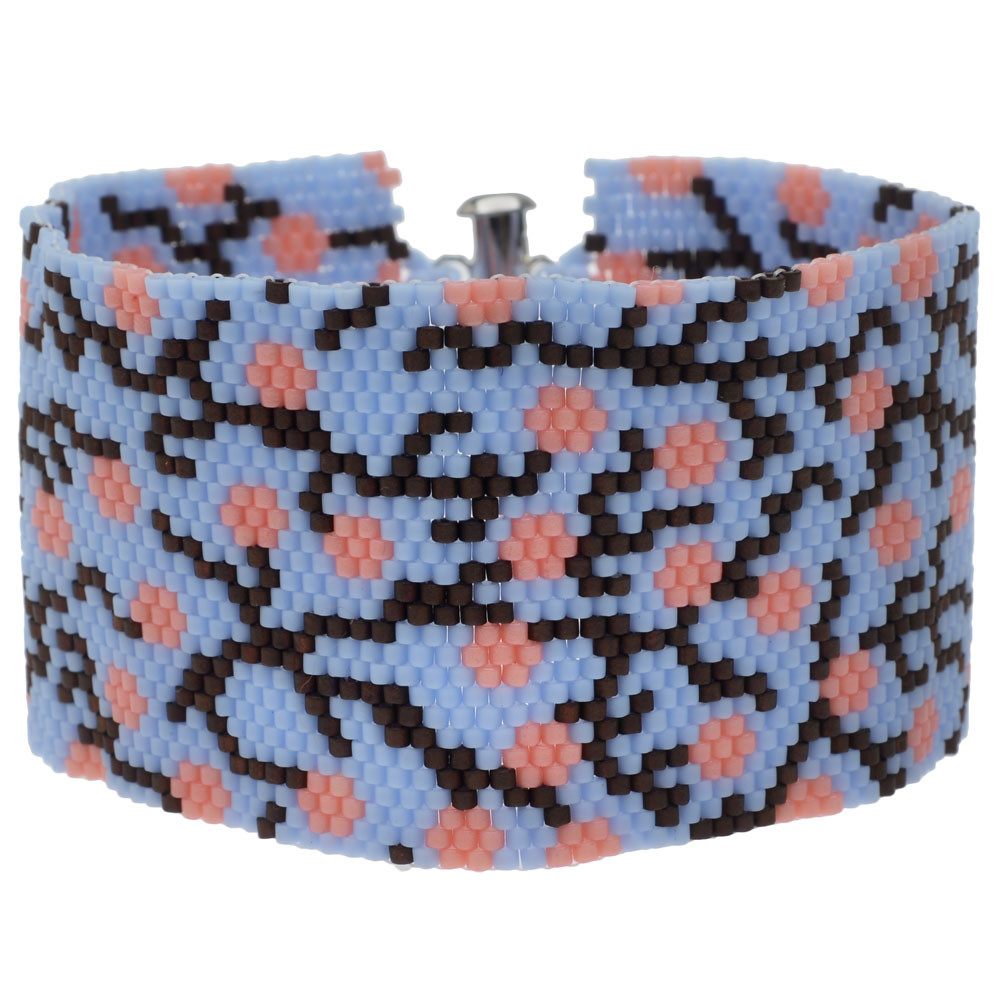 Blue Cherry Blossom Peyote Bracelet