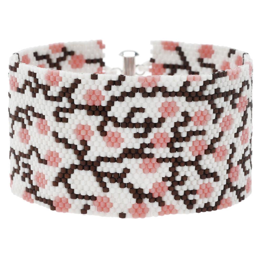 White Cherry Blossom Peyote Bracelet