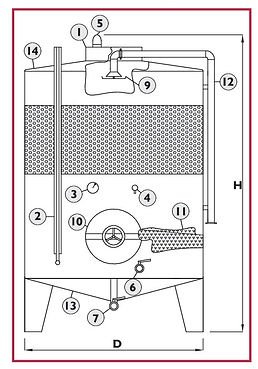 WINEMAKING CONTAINERS DRAWING RED WINE.j