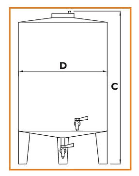 INOX CONTAINER DRAWING CONICAL BOTTOM HE
