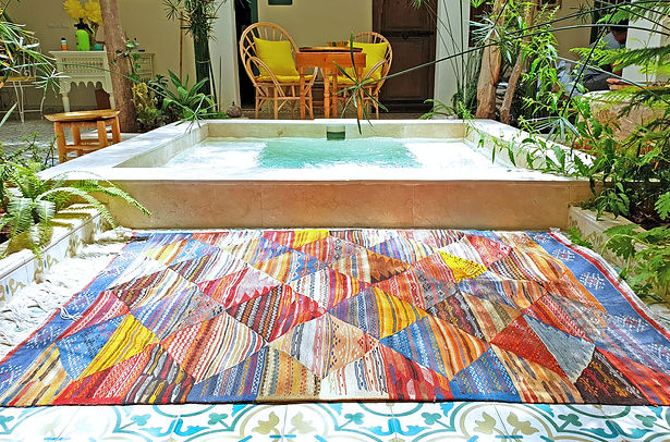 This Kilim rug was handmade by the Zanafi tribe situated in the Atlas Mountains of Morocco._It has b