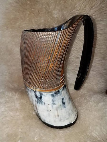Carved Horn Drinking Mugs