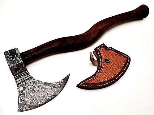 Custom Handmade Damascus Steel Hunting Camp Axe