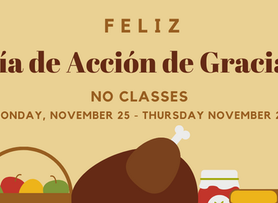 No Classes Nov 25 - 28