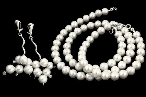 ISABELLE Natural White Pearl Necklace Bracelet & Clip-on Earrings Set