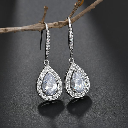 LUCY White Gold and Cubic Zirconia Teardrop Earrings