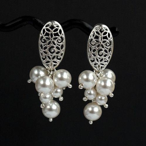 LILY Vintage Style Swarovski White Pearl Silver Earrings