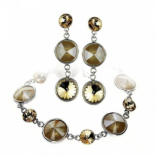 SONIA Swarovski Crystal Bracelet & Earring Set with Engraving
