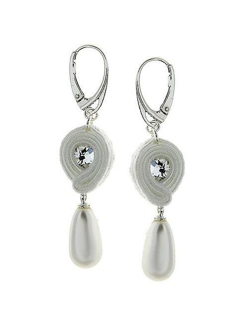SOUTACHE Swarovski Pearl and Crystal Bridal Earrings