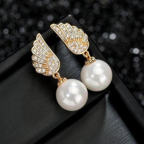 ANGEL Pearl Drop Crystal Gold Earrings