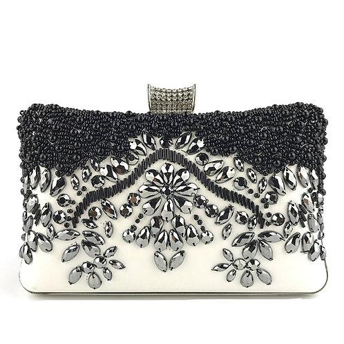 CASSANDRA Modern Vintage Style Black & White Crystal Clutch Bag