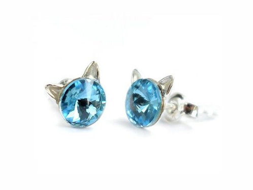 KITTY Aquamarine Rivoli Swarovski 0.6 cm Earrings