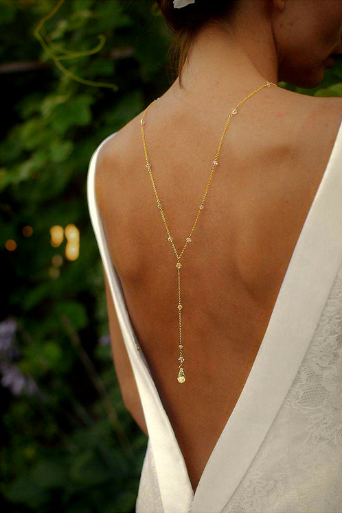 CLASSIC Graceful 24ct Gold-plated & Golden Shadow Crystal Back Necklace