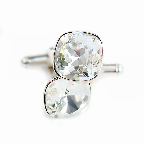 OLIVIER Crystal F Square Cushion Cut Wedding Swarovski Crystal Cufflinks
