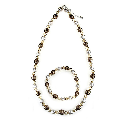 ELLE White Cappucino Pearl & Tea Rose Crystal Necklace and Earring Set