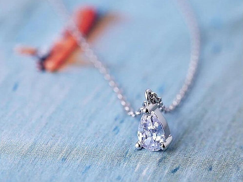 ABBIE Teardrop Rhodium-plated Chain Necklace with White Cubic Zirconia