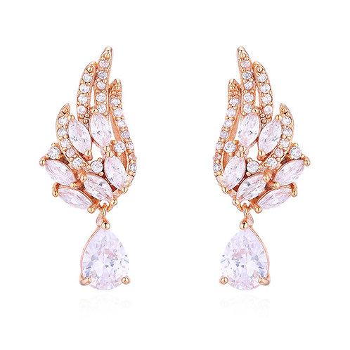 ANGEL Wing Rose-Gold Crystal Tear Drop Earrings