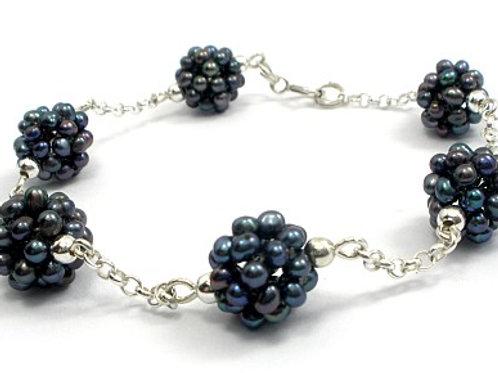 PEACOCK Natural Pearls Silver Bracelet