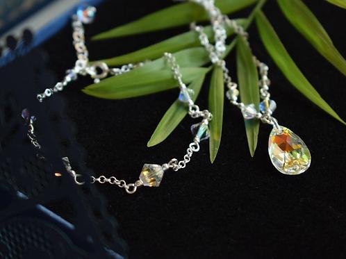 BRENDA Classic Teardrop Swarovski Aurora Borealis Crystal Bracelet & Necklace