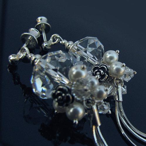 FLORENCE Swarovski White Pearl Crystal Long Earrings