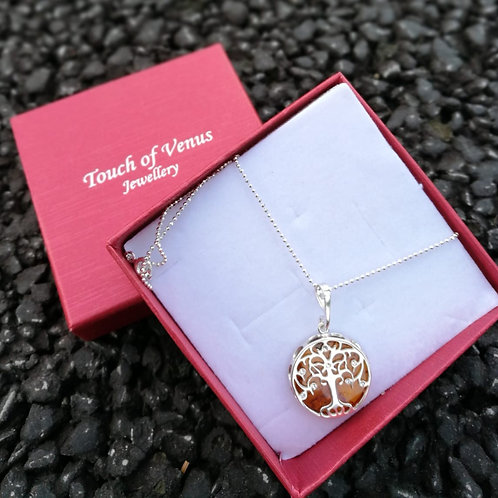 THE TREE OF LIFE Swarovski Crystals with Amber Stone Pendant