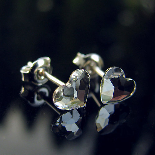 LOVELY Hearts Swarovski Crystal F Stud Earrings