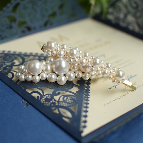 DESTINY Set of Two Wedding Swarovski White Pearl Hair-pin Appliqués Big & Medium
