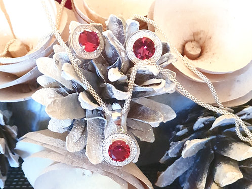ANTOINETTE Ruby Rhodium-plated Crystal Silver Set