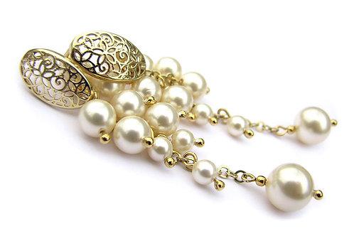 LILIAN Creamrose Light Gold-plated Swarovski Pearl Earrings
