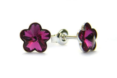 DAISY Fuchsia Flower Swarovski Earrings