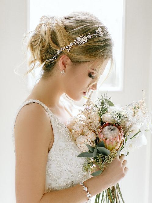 ELISSA Boho Rustic Bridal Hairband Leaf Vine with Pearls & Crystals