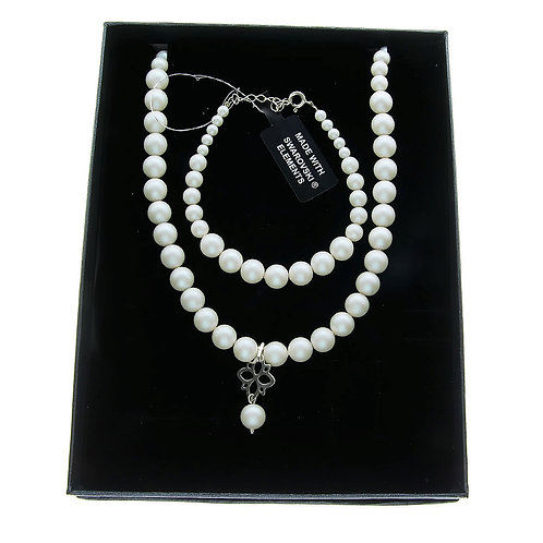 LETTY Ecru Pearl Swarovski Necklace & Bracelet Set