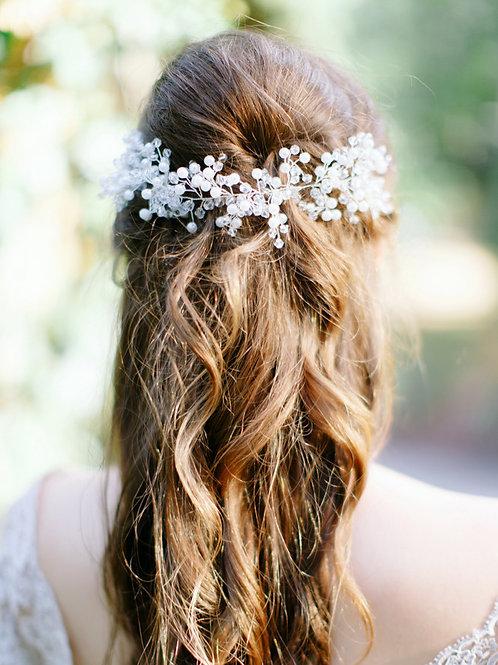 JULIANA Boho Rustic Bridal Headband with Pearls & Crystals