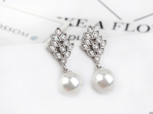 ELENA Vintage Style Pearl Drop Crystal Silver Pierced Earrings