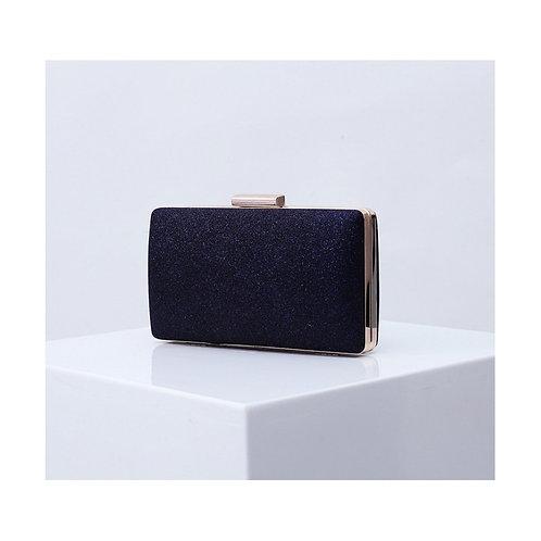 MADISON Classic Navy Blue Glitter Mesh Compact Box Clutch Bag