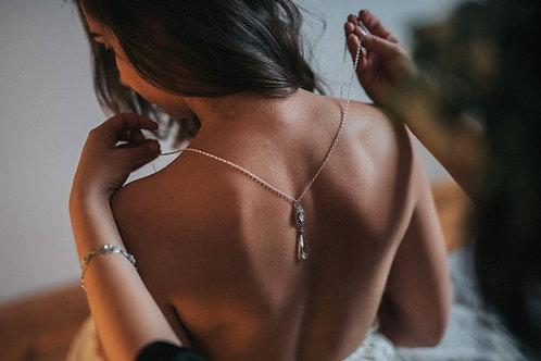 VIVIENNE Double Vintage Retro Style Swarovski Crystal Wedding Back Necklace