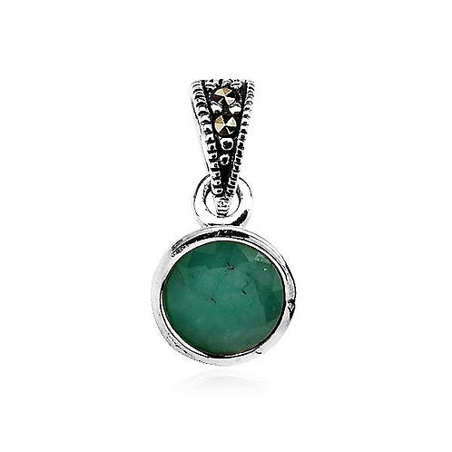 Emerald 0.9 Carat and Marcasite Silver Pendant