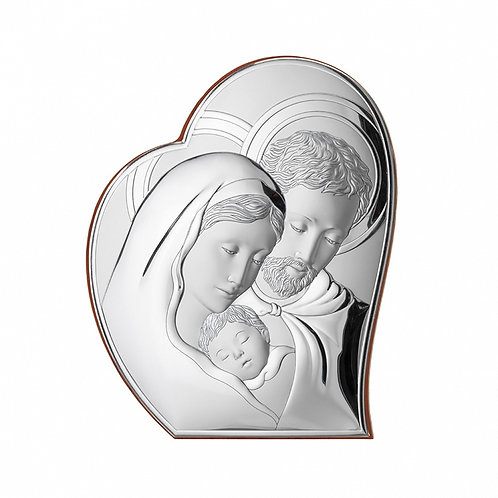Christening Gift - Heart Shaped Holy Family Silver-plated Image Gift