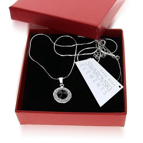 MODERN Black Round Swarovski Silver Necklace