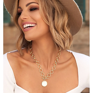 TOSS White Pearl Modern T-bar Toggle Short Necklace.webp