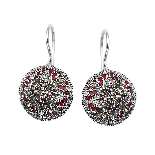 ISELLA Vintage Retro Oxidoxed Silver and Marcasite Earrings