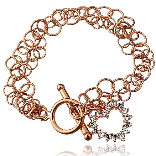 HEART Rose Gold-plated Heart and Cubic Zirconia Silver Bracelet