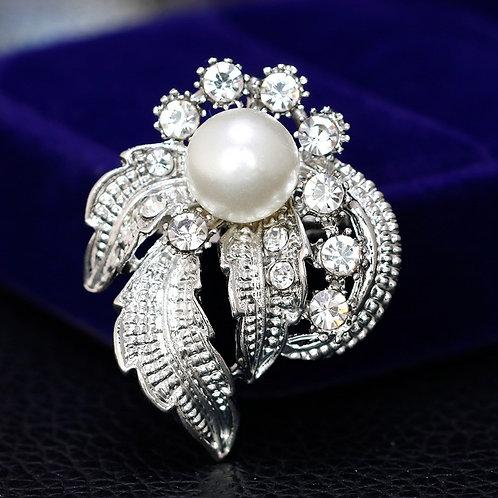 ROZETA Pearl Crystal Silver-plated Modern Handmade Brooch
