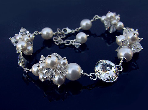 GIANNA Grape Style White Pearl and Crystal Clear Swarovski Bracelet