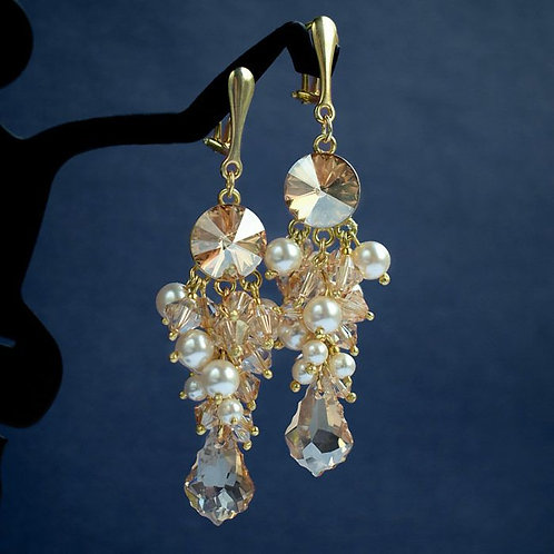 GIANNA Gold & Golden Shadow Grape Style Pearl Crystal Swarovski Clip-on Earrings
